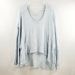 Free People Oversized Raw Hem Thermal Blouse